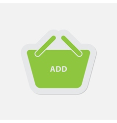 Simple green icon - shopping basket add vector