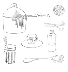 sketch with kitchen equipment vector image