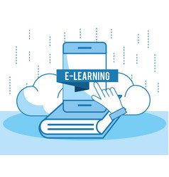 Smartphone technology education with book vector