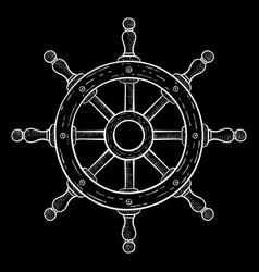 steering wheel hand drawn sketch on black vector image