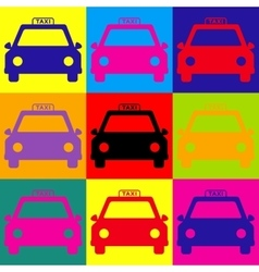 Taxi sign Pop-art style icons set vector