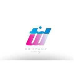td t d alphabet letter combination pink blue bold vector image