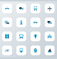 Transport icons colored set with cab autobus vector