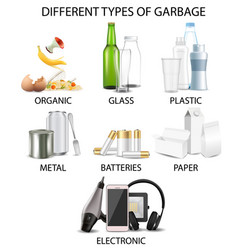 Types garbage realistic isolated vector