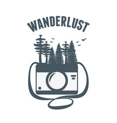Wanderlust label with forest scene and camera vector
