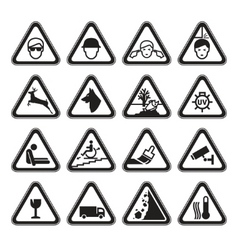 warning safety signs set black vector image