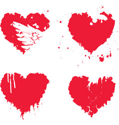 Watercolor abstract heart with splashes blood vector