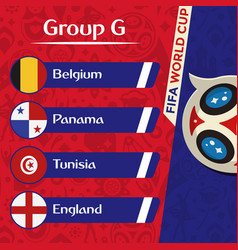 World cup 2018 group g team image vector