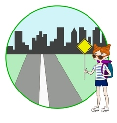 Young woman with backpack hitchhiking on roadside vector