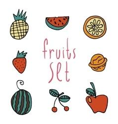 cartoon flat fruits set icon stickers vector image vector image