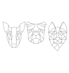Dog head triangular icon geometric trendy line vector image