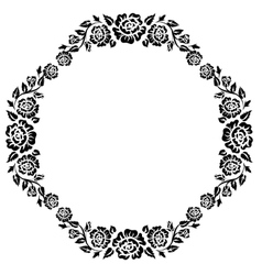 Vintage frame with black silhouettes of roses vector image