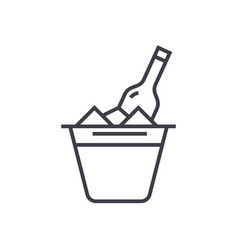 champagne in bucket line icon sign vector image
