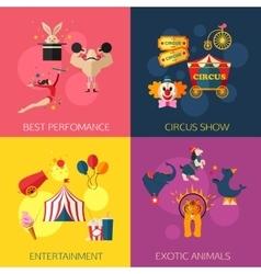Circus performance entertainment exotic animals vector image
