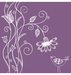 Doodle flowers with swirls and bird vector image vector image