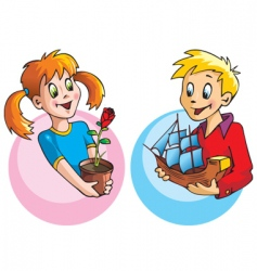 girl and boy with gifts vector image
