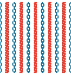 Seamless striped pattern with ropes and chains vector image vector image