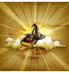 Wizard hat and old book old style background vector image vector image