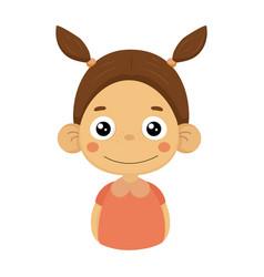 content smiling little girl flat cartoon portrait vector image vector image