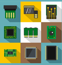 different chip icons set flat style vector image