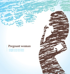 Drawn silhouette of pregnant woman vector image vector image