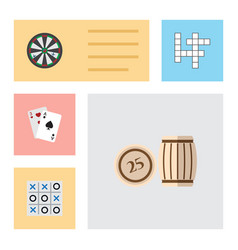 flat icon play set of guess lottery ace and vector image vector image