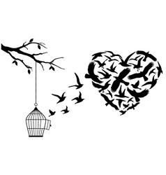 flying birds heart vector image