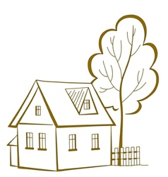 house with a tree pictogram vector image vector image
