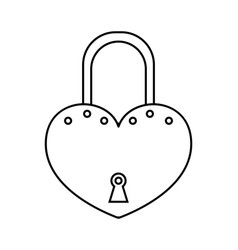 padlock flat black and white linear icon of lock vector image vector image