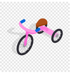 pink tricycle isometric icon vector image