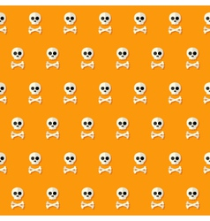 Seamless Halloween Skull Pattern with Bones vector image