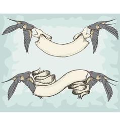 Swallows holding ribbons vector image