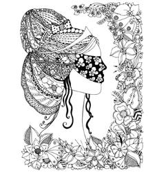 a girl Princess zentangl vector image vector image