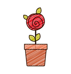 Color pencil drawing of button red rose with vector