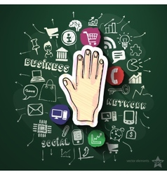 Hand collage with icons on blackboard vector image