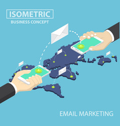 isometric businessman hands holding smartphone vector image