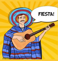 pop art mariachi in poncho and sombrero vector image
