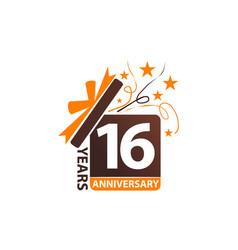 16 years gift box ribbon anniversary vector image