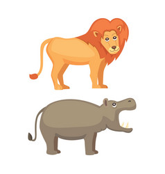 african animals cartoon set lion and hippo vector image