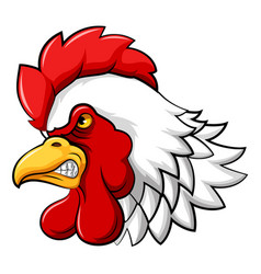 Aggressive rooster head mascot vector