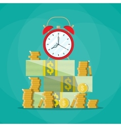 Alarm clock in a pile of stacked bills and coin vector image vector image
