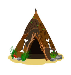 Ancient man hut vector