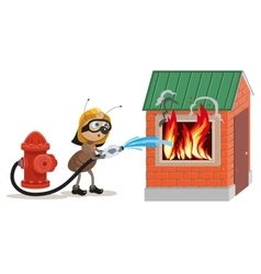 Ant firefighter extinguishes house vector image