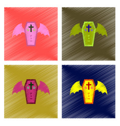 Assembly flat shading style icon wings coffin vector