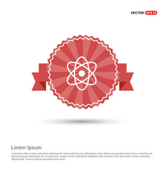 atom sign icon - red ribbon banner vector image
