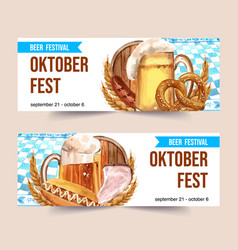 Beer sausage pretzel and grilled meat watercolor vector