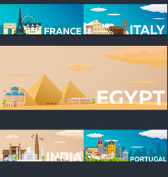 Big collection of travel banners to country vecor vector
