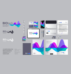 Biotech lab dna logo identity corporate style vector