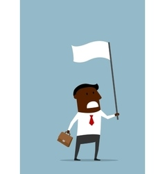 Black businessman with a white flag vector