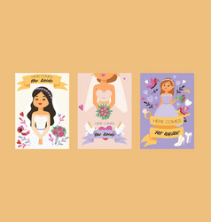 bride bridesmaid woman character in wedding vector image